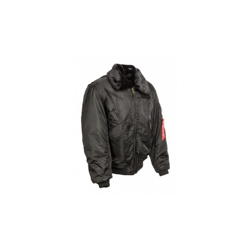 BOMBERA M-TRAMP CWU, s kožušinovým golierom - čierna