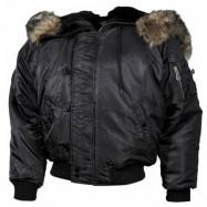 BOMBERA MFH US Polar jacket N2B 03702A, nylonová s kožušinou - čierna