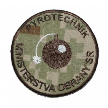 """Nášivka """"Pyrotechnik"""" 8,5cm so SZ - digital púšť"""