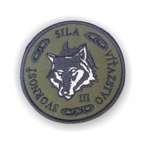 """Nášivka """"SSV - vlk"""" so SZ - olivová"""