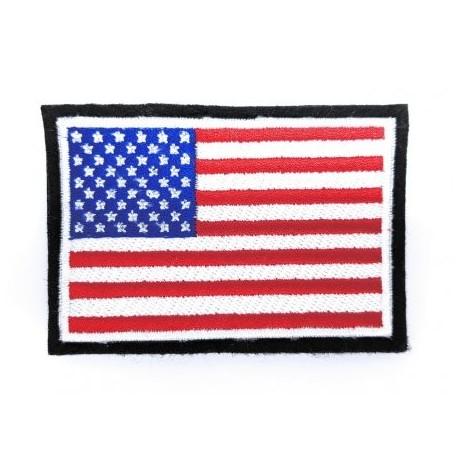 Nášivka vlajka USA so suchým zipsom - čierno/biely okraj