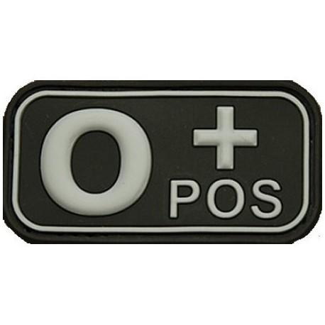 Patch označenie krvnej skupiny, 0+ POS - čierny